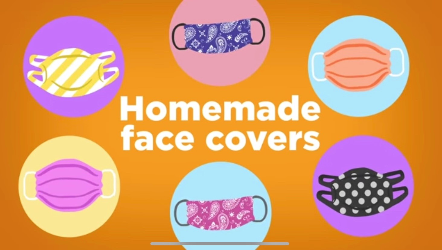 If you are going outside of your home because you're an essential worker or you're performing an essential task, wear a face mask. Homemade face masks can be made out of t-shirt or bandanas.
